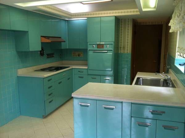 Vintage 1950 S Turquoise Kitchen 2500 St Louis Vintage Kitchen Cabinets Metal Kitchen Cabinets Kitchen Cabinets