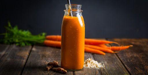 Turmeric Carrot Protein Shake With Ground Turmeric, Grated Carrot, Mango, Ice, Water, Vanilla