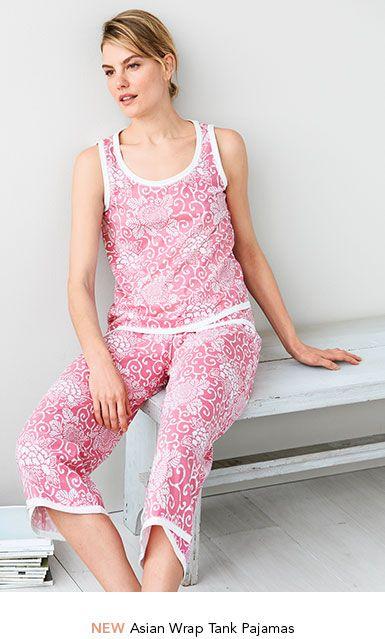 f587739ae88c Garnet Hill Women s Sleepwear. Asian Wrap Tank Pajamas.