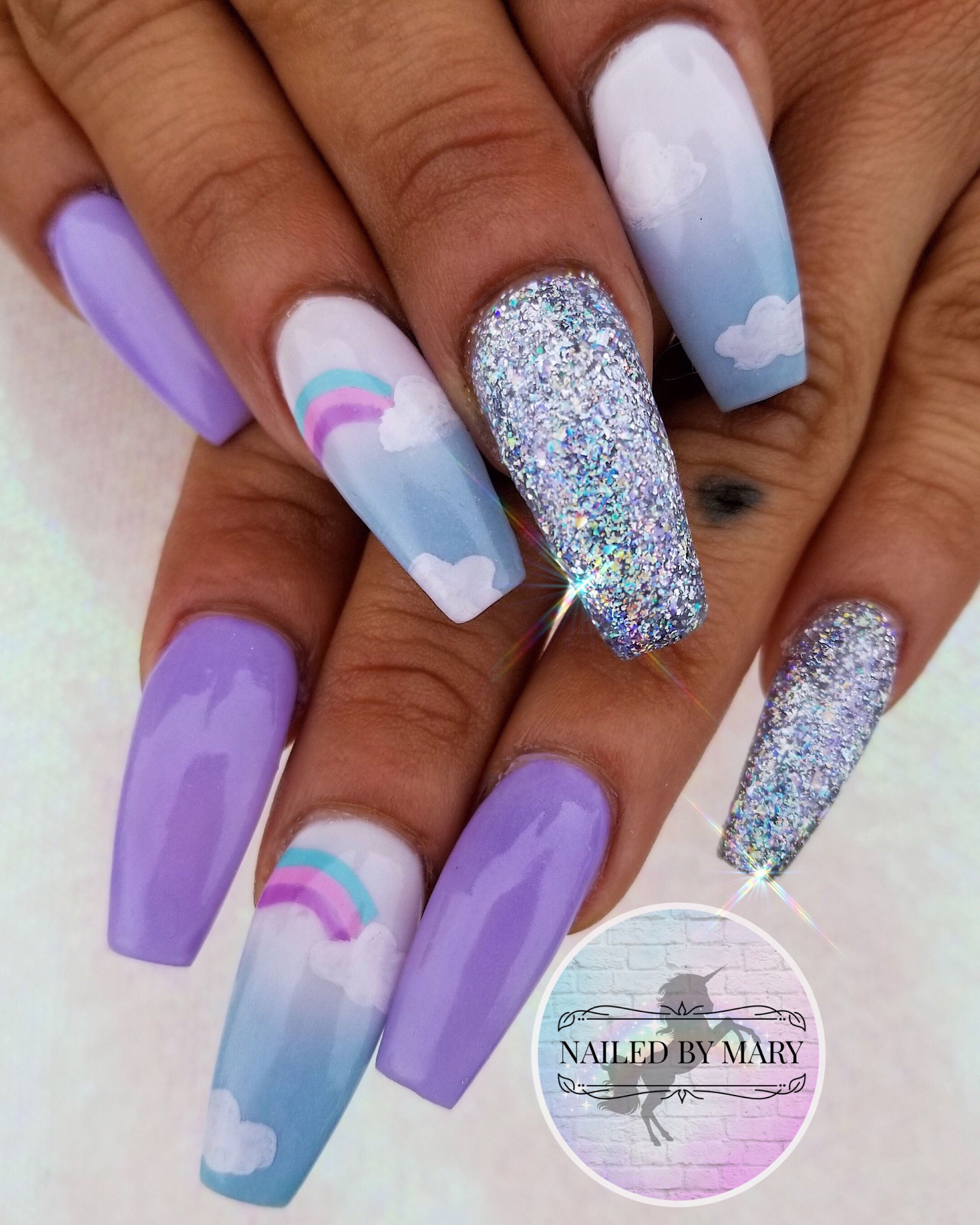 Nails Nailart Cute Nails Love Pastel Rainbow Purple Long Coffin Shape Glitter Hand Painted Acrylic Cute Nails Cute Nail Art Designs Coffin Nails Designs