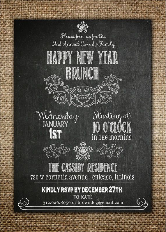 new years invitation new years eveday brunch chalk board design
