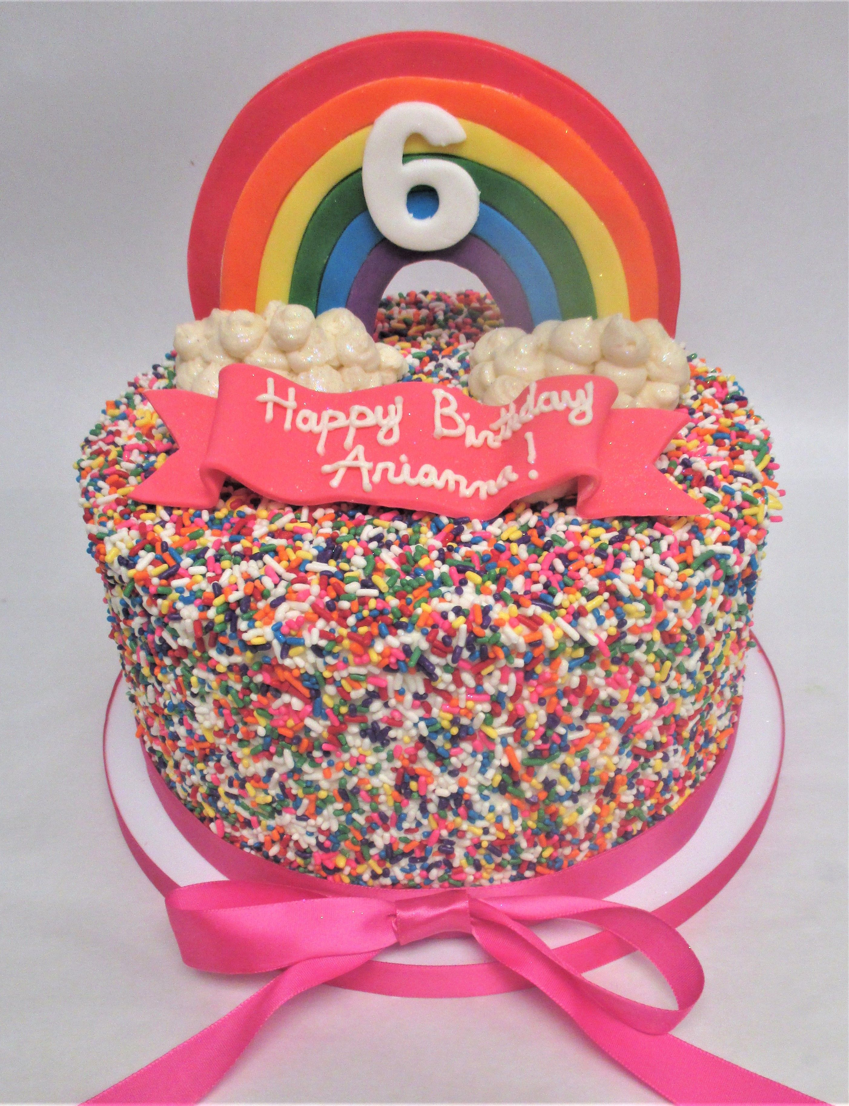 Sprinkle Coated Rainbow Kids Birthday Cake by Flavor Cupcakery