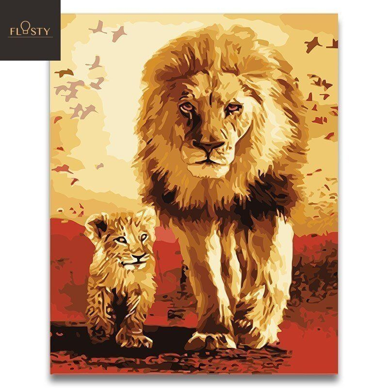 Paint By Numbers Africa Lion Father And Son Leon Pintado