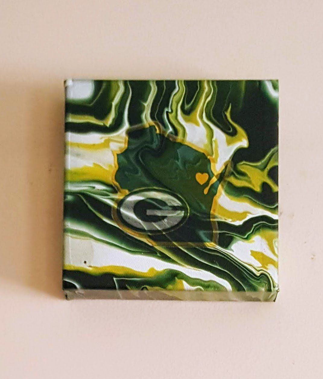 Acrylic Pour Painting On Canvas With Green Bay Packer Decal One Of A Kind Www Kroezeskreations Com Acrylic Canvas Canvas Painting Painting Canvases