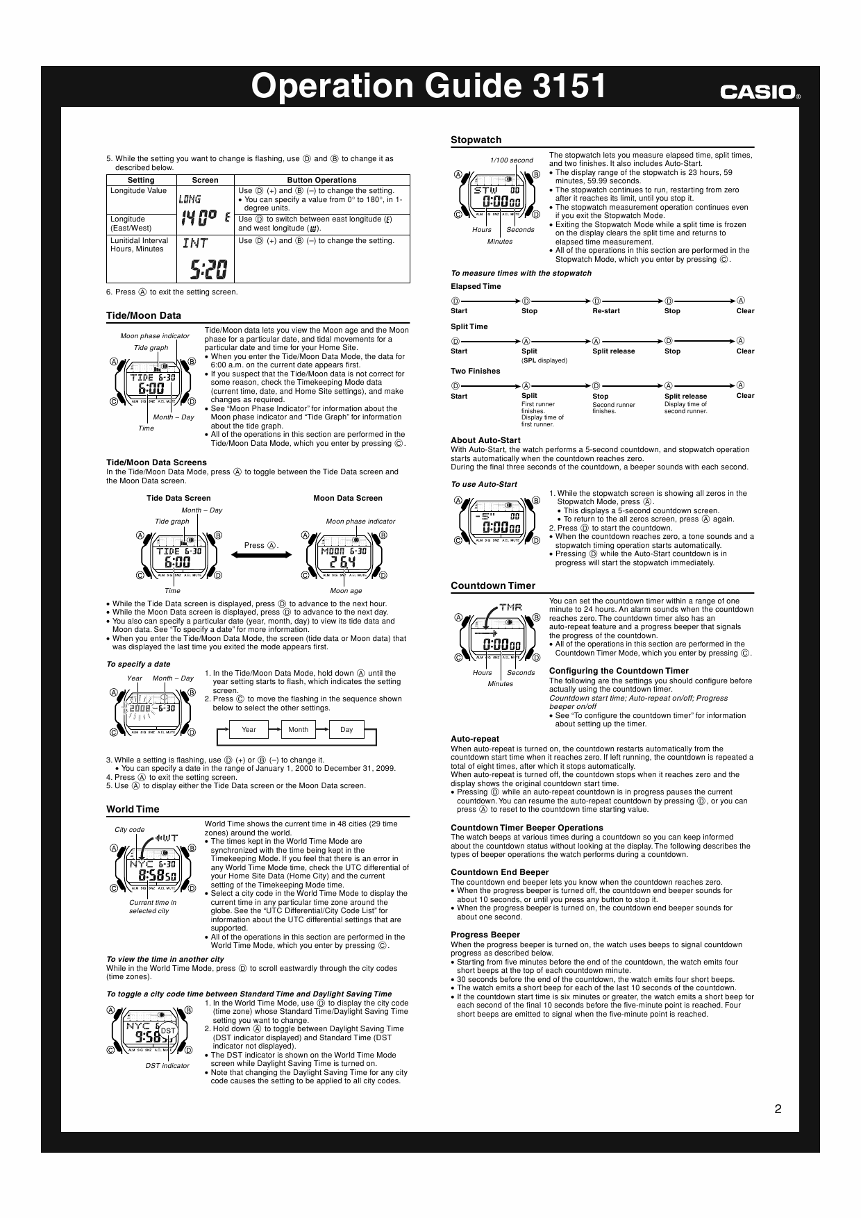Page 2 of the owner's manual for the Casio Module number