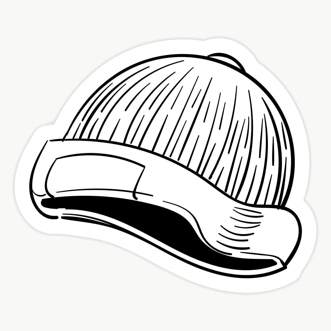 Black And White Yarn Hat Sticker Transparent Png Premium Image By Rawpixel Com Sasi Black And White Stickers Black And White Doodle Cloud Stickers