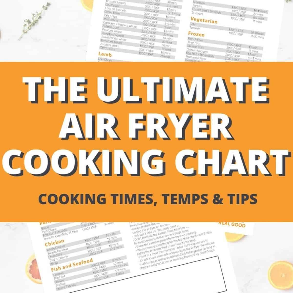 Air fryer cooking chart free printable cook it real