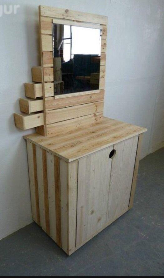 meuble d 39 entr e bois de palette miroir placard chaussures meubles et rangements par. Black Bedroom Furniture Sets. Home Design Ideas
