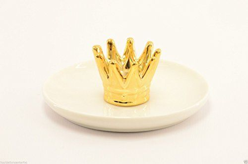 Macy's White Ceramic Crown Ring Holder Jewelry Dish - 9 P...