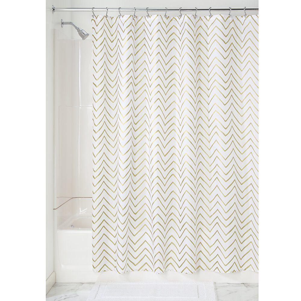 InterDesign Sketched Chevron Fabric Shower Curtain - 183 x 183 cm ...