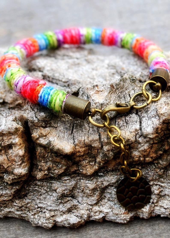 pas cher pour réduction e25d8 00924 Adjustable rainbow bracelet femme, cotton rope woven ...