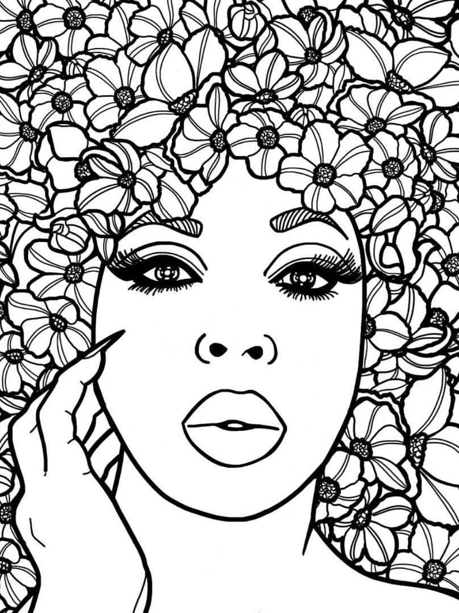 Adult Coloring Page African Girl Portrait Colouring Sheet Black