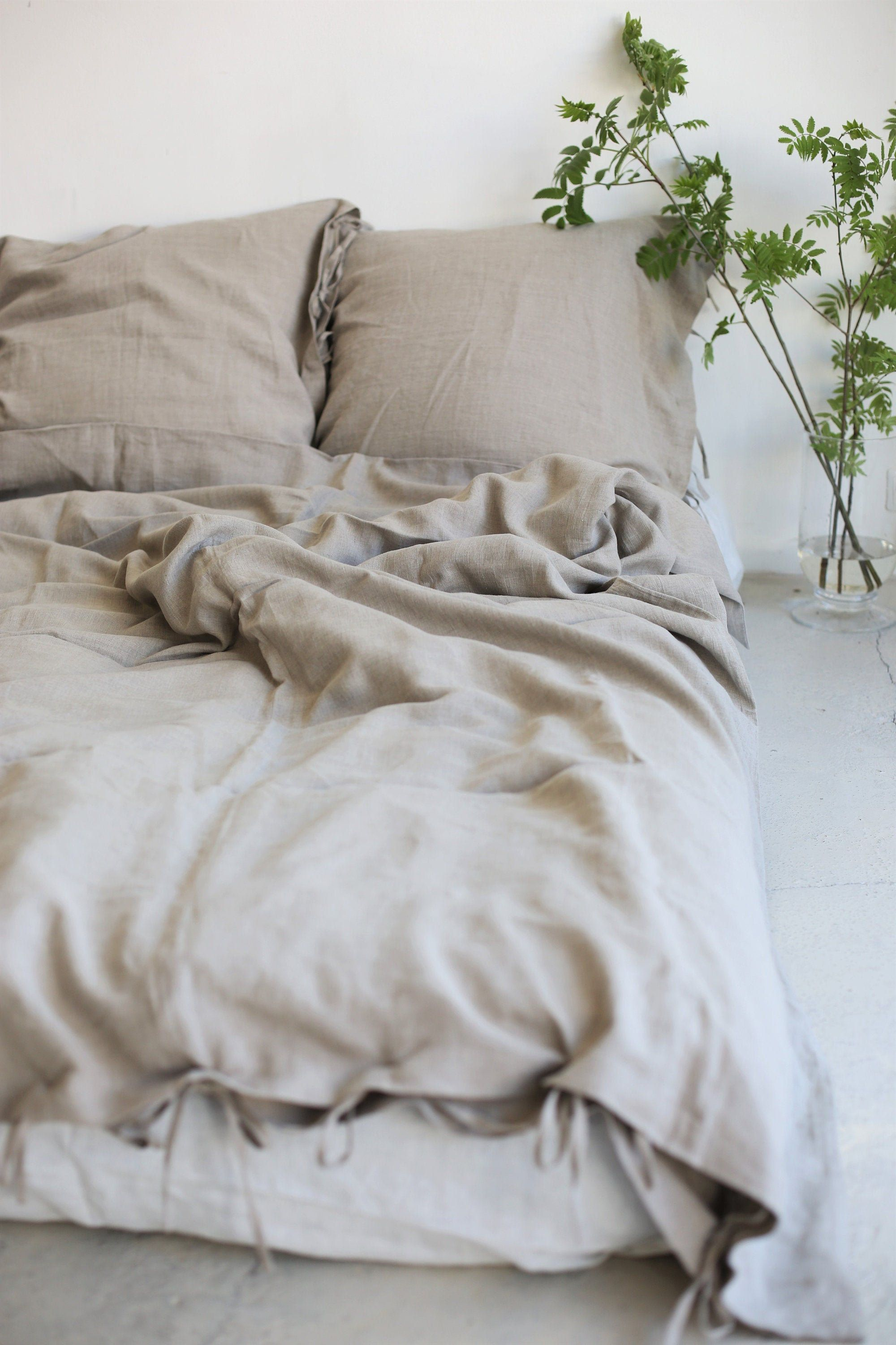 Natural Linen Bedding Linen Pillowcases And Duvet Cover Set Bedding Set Queen King Farmhouse Bedding In 2020 Linen Bedding Natural Linen Pillow Cases Queen Bedding Sets