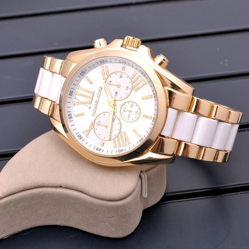 Zegarek Michael Kors Bialo Zloty Casual Watches Famous Brands Fashion Wrist Watch