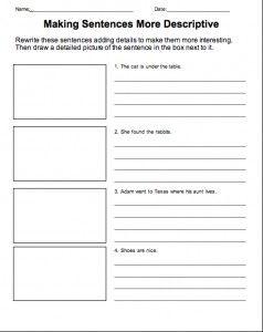 Descriptive Sentence Worksheet | English | Making sentences ...