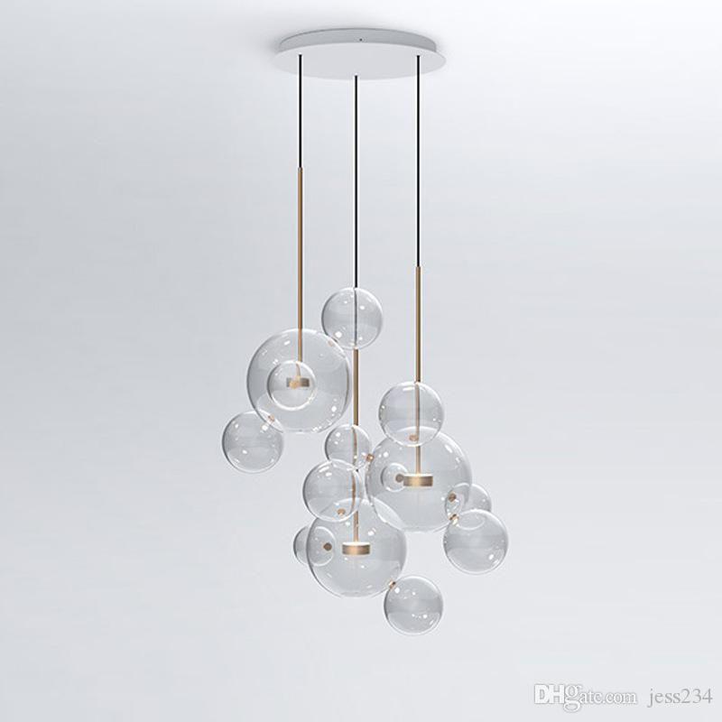 Verre Savon Led Moderne Clair Bulle Suspension Luminaire Lampe WDE9HI2