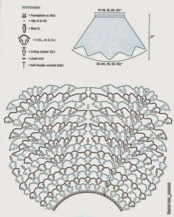 Patrón #445: Falda de puntas a Crochet o Ganchillo ~ CTejidas ...
