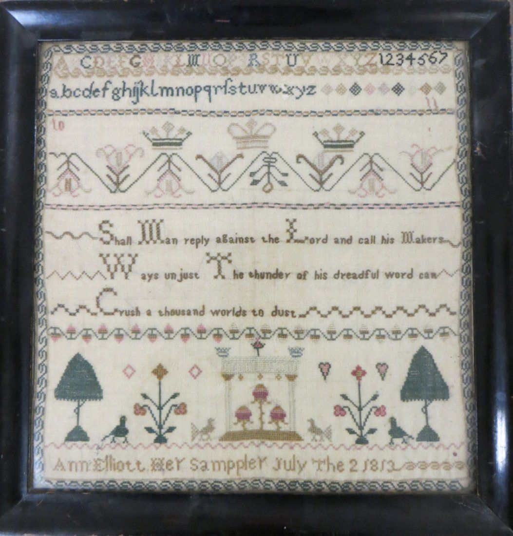 Motto & alphabet sampler decorated with 2 queen crowns & 1 king crown, flowers, trees, birds, hearts - scrolled border - signed Ann Elliott Her Sampler (note misspelling of Sampler) July The 2 1813