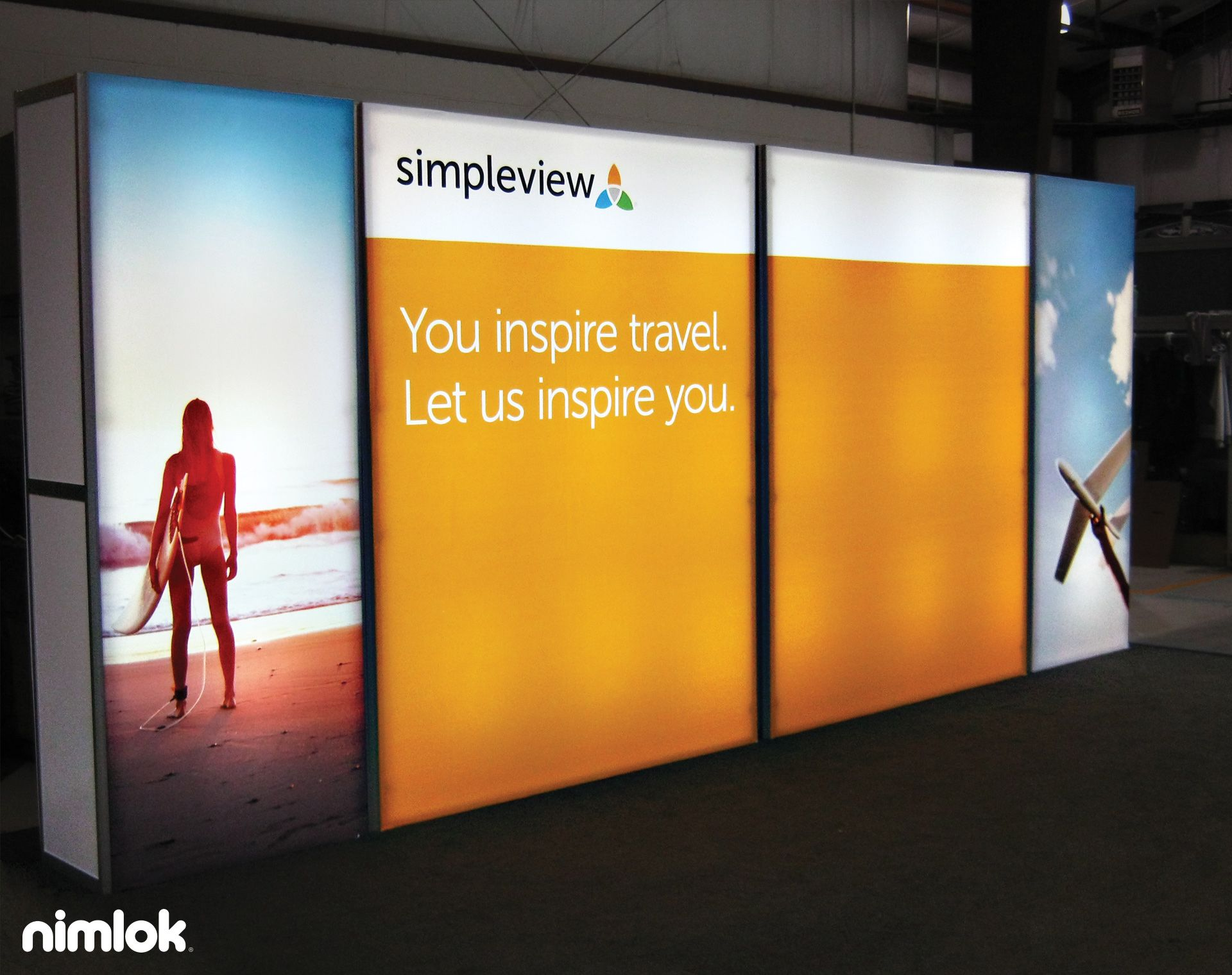 simpleview - trade show exhibit. This SmartWall banner serves as the ...