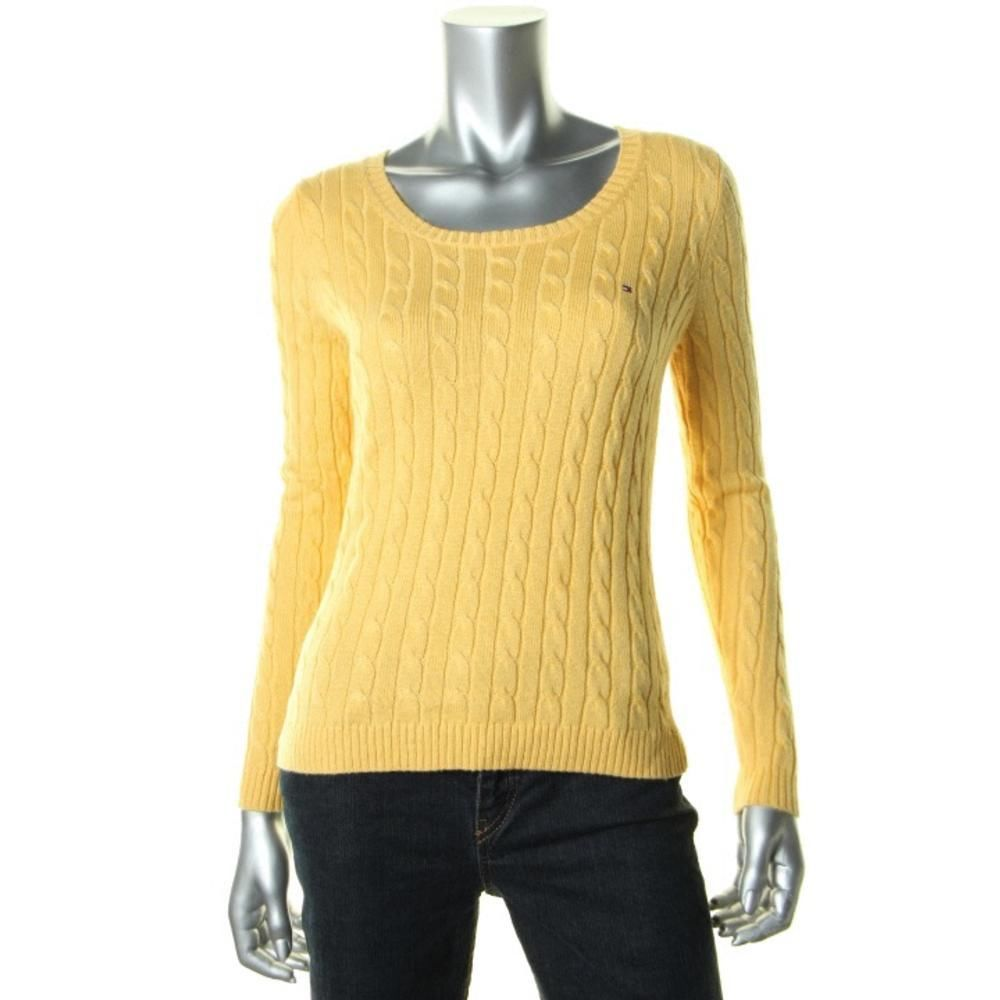 TOMMY HILFIGER NEW Yellow Wool Blend Signature Pullover Sweater Top M BHFO #TommyHilfiger #PulloverSweater