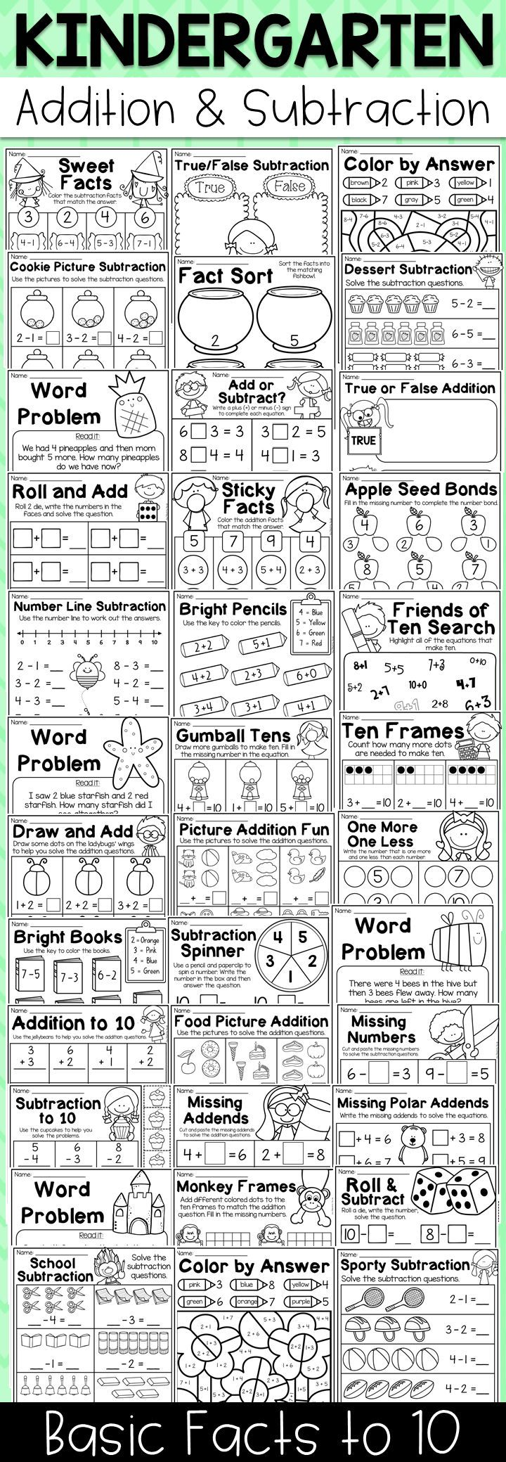 Kindergarten Addition and Subtraction Worksheets (up to 10) | TpT ...