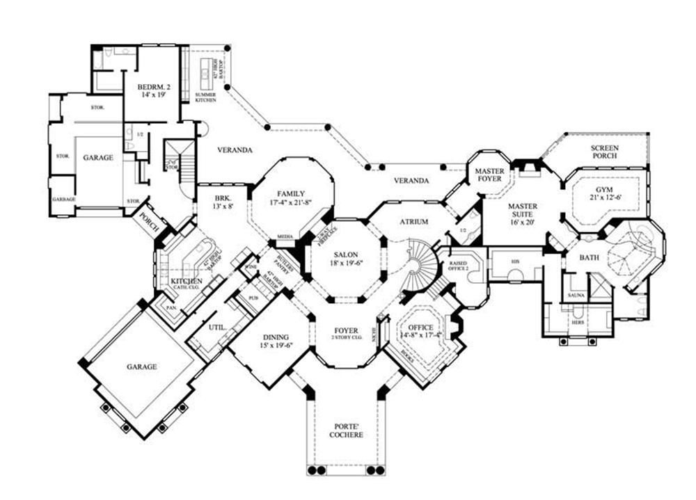 Home plan 134 1355 floor plan first story blueprint for Luxury 1 story house plans