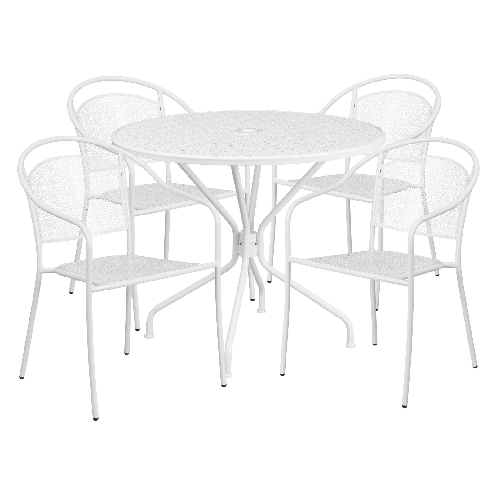 Outdoor Flash Furniture Steel Round Patio Dining Set With Round