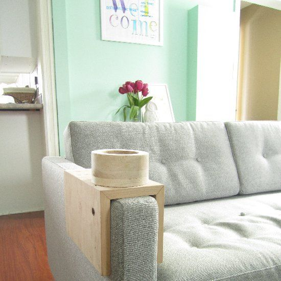DIY A Couch Sleeve When Theres No Room For An End Table