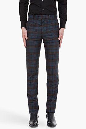 ALEXANDER MCQUEEN Dark Blue Check Trousersb $795