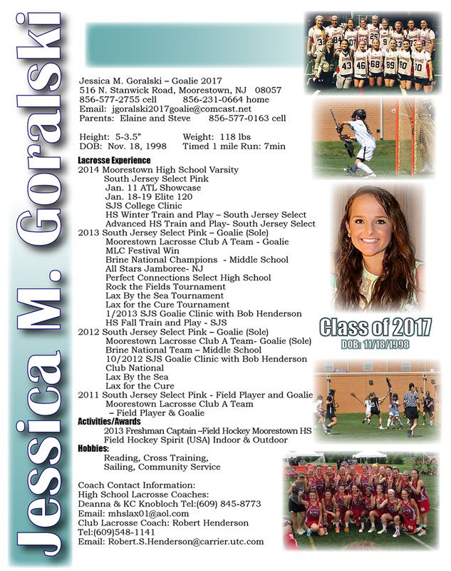 Lacrosse Resume | Sports Resumes/Recruiting Flyers | Pinterest