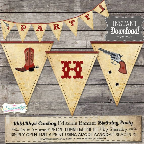 dad6e3325faa2 Wild West Cowboy Party Banner - INSTANT DOWNLOAD - Editable   Printable Birthday  Decorations