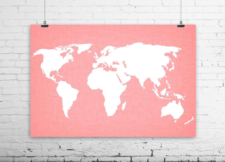 2014 world map linen art print modern wall art salmon coral 2014 world map linen art print modern wall art salmon coral pink white gumiabroncs Images