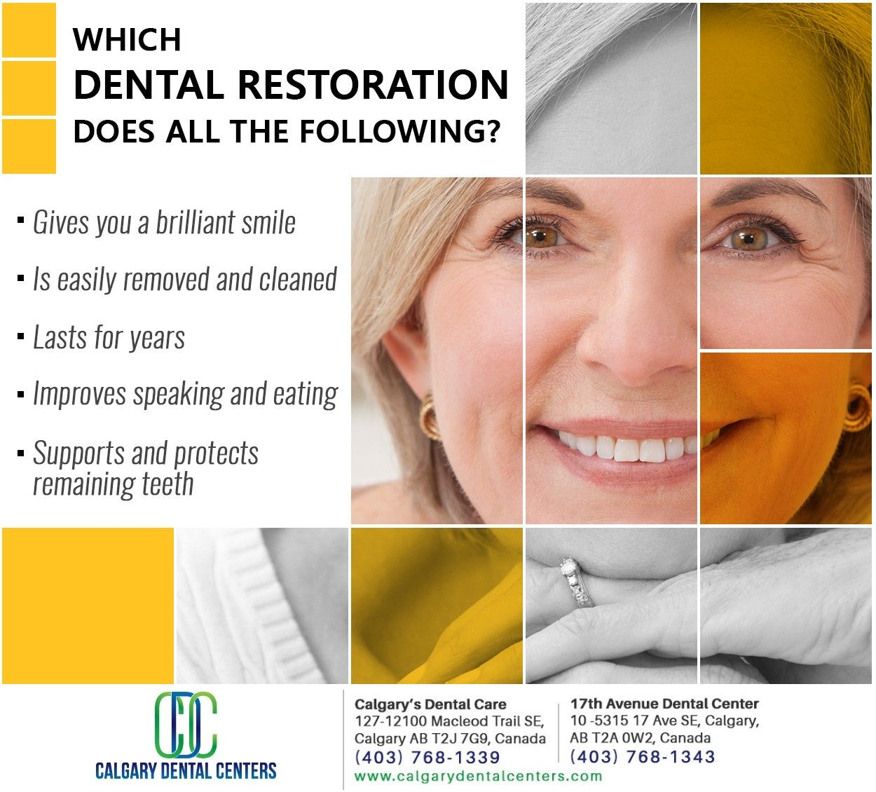 Dentures are the dental restoration that can do all this