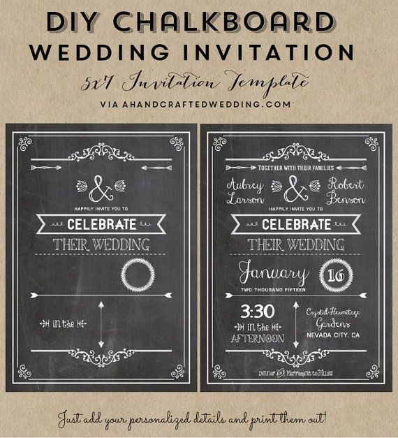 Diy Chalkboard Wedding Invitation Rsvp Card Template Wedding