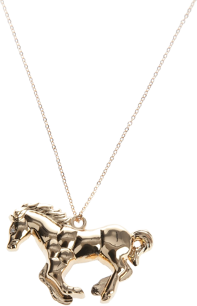 Gold plated horse pendant from Gemma Lister featuring a small link gold plated chain, and a designer embossed diamond shaped tag at the rear clasp fastening.