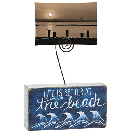Highlight beloved memories with this charming wood photo holder, perfect for creating an eye-catching beach-themed vignette on your bookshelf, coffee table, ...