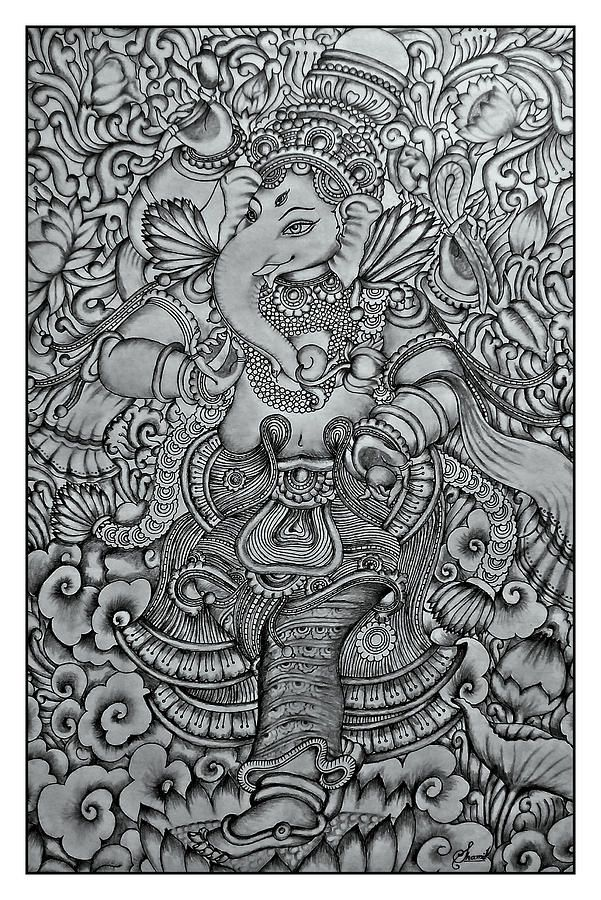 Ganesha mural pencil drawing by shamil art shamil for Mural art of ganesha