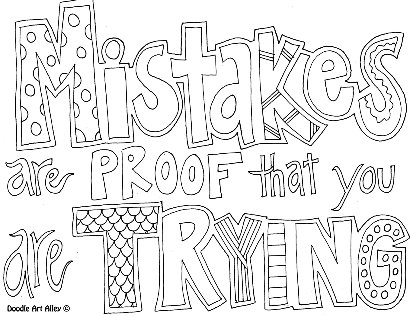 Mistakes Are Proof Of Trying Coloring Page