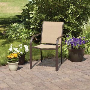 Mainstays Stacking Sling Chair, Dune