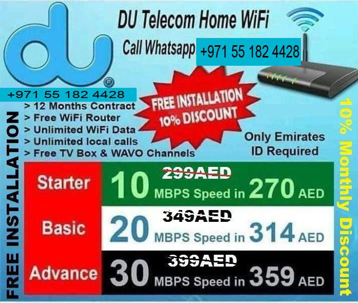 Du Home Wifi Packages Services In All UAE, Just Call or