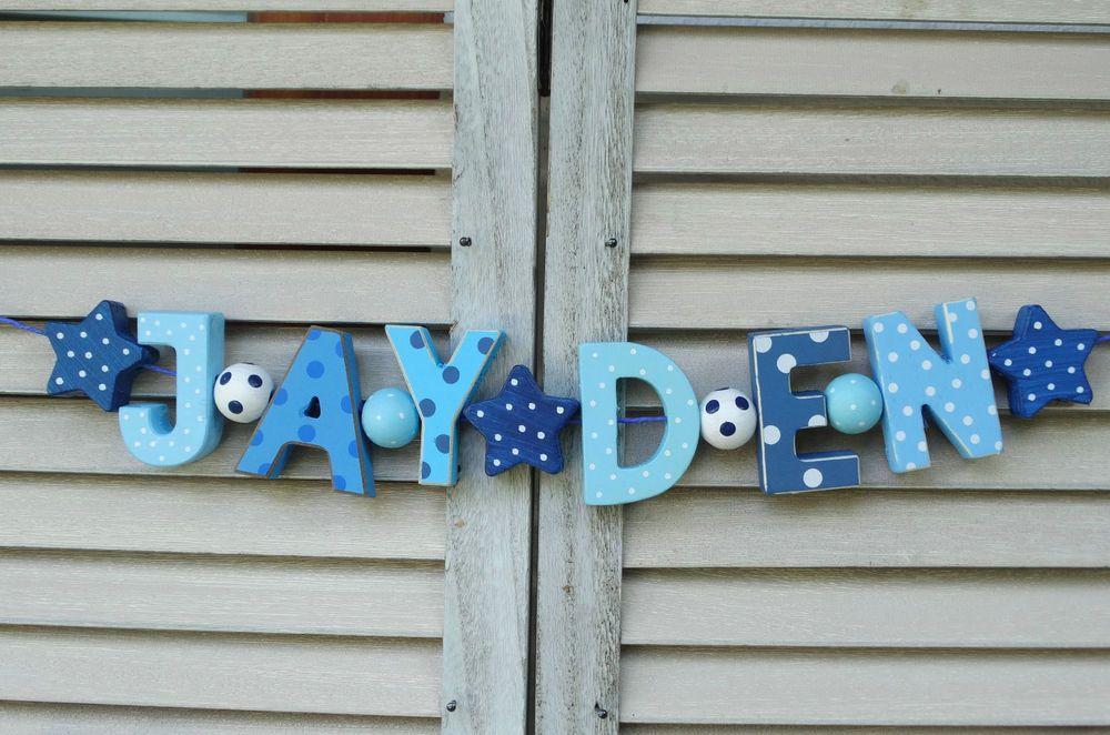 Jayden wooden door sign plaque baby shower gift nursery decor name ...