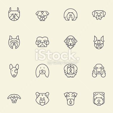 Dogs Head Icons | set 2 - Light Color Royalty Free Stock Vector Art Illustration