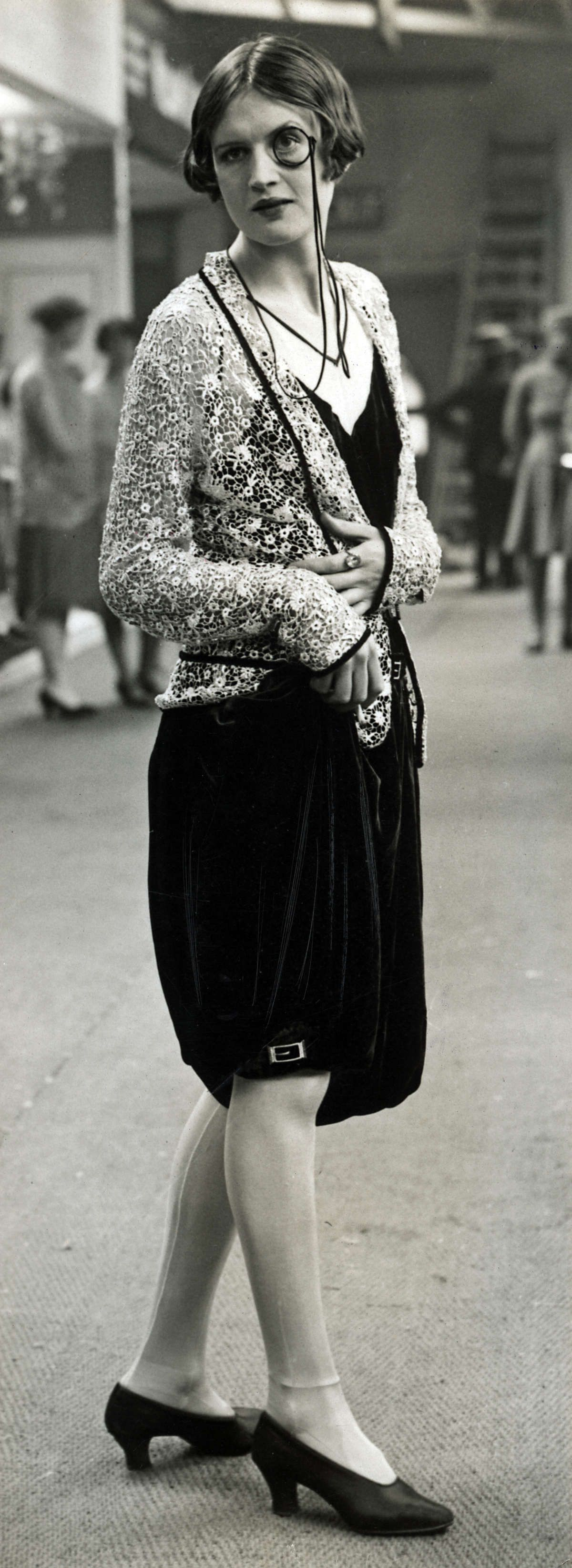 Bloomer-esque short pants and a jaunty monocle, what's not to adore? (Image 1927-1928.) #vintage #1920s #fashion