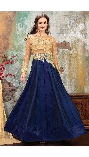 Beige And Blue Taffeta Silk Anarkali Suit With Dupatta - DMV14907 ...