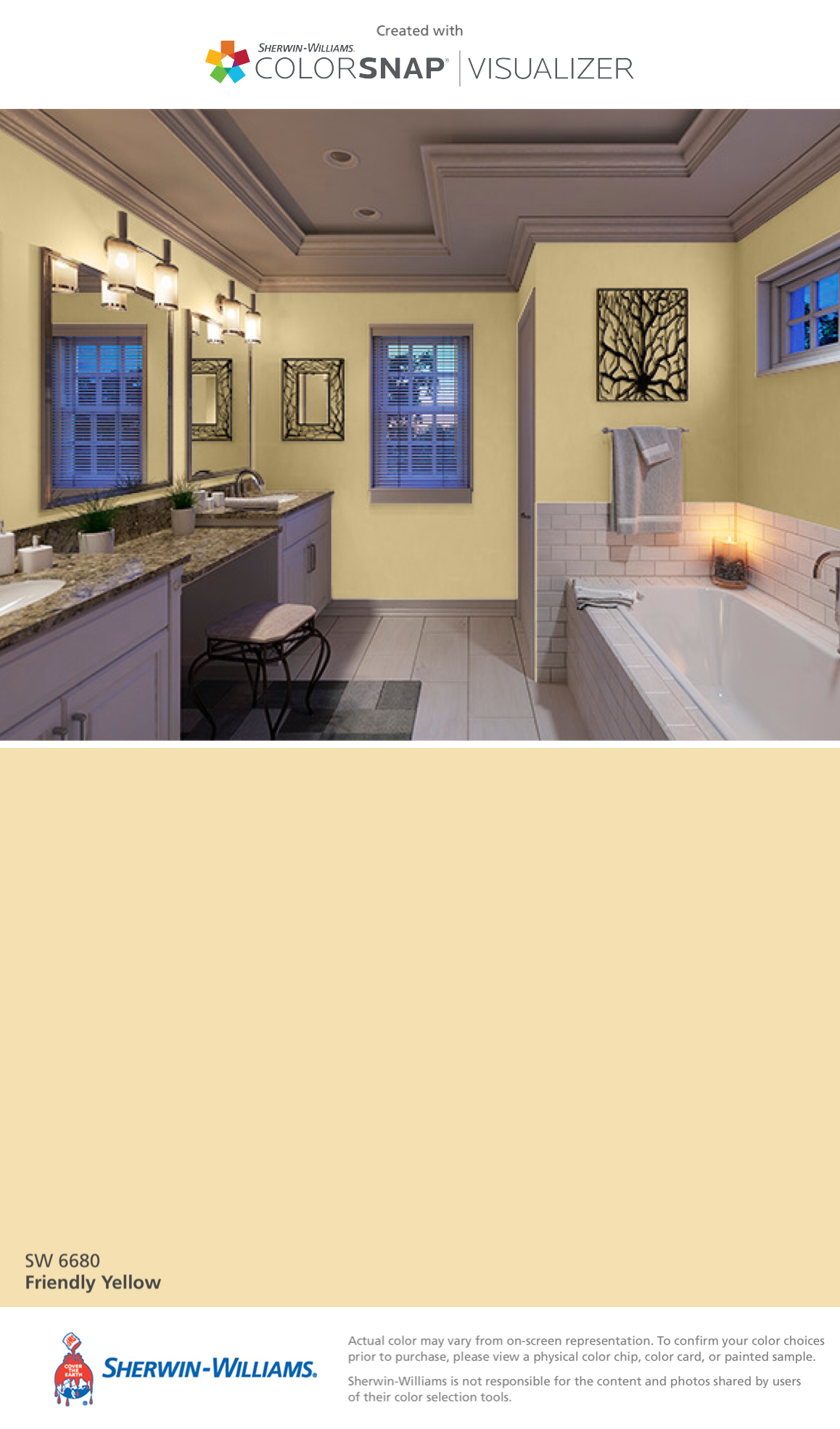 I found this color with colorsnap visualizer for iphone by sherwin williams friendly yellow for Interior paint color visualizer