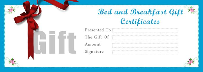 Bed and Breakfast Gift Certificates Templates - Free Gift