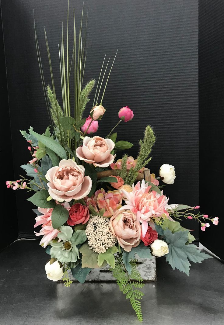 Cool Autumn Pinks In Crate By Andrea Andrea Autumn Cool Crate Pinks Mana Vietne Artificial Flower Arrangements Centerpieces Large Flower Arrangements Flower Arrangements Diy