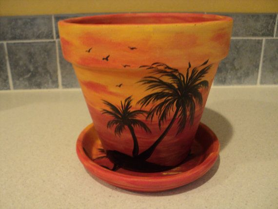 Hand Painted Flower Pot Saucer 6 1 4 Sunset By Raindropsnroses 14 99 Painted Plant Pots Decorated Flower Pots Painted Clay Pots