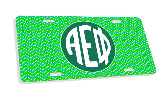 Alpha Epsilon Phi Monogram License Plate from GreekGear.com