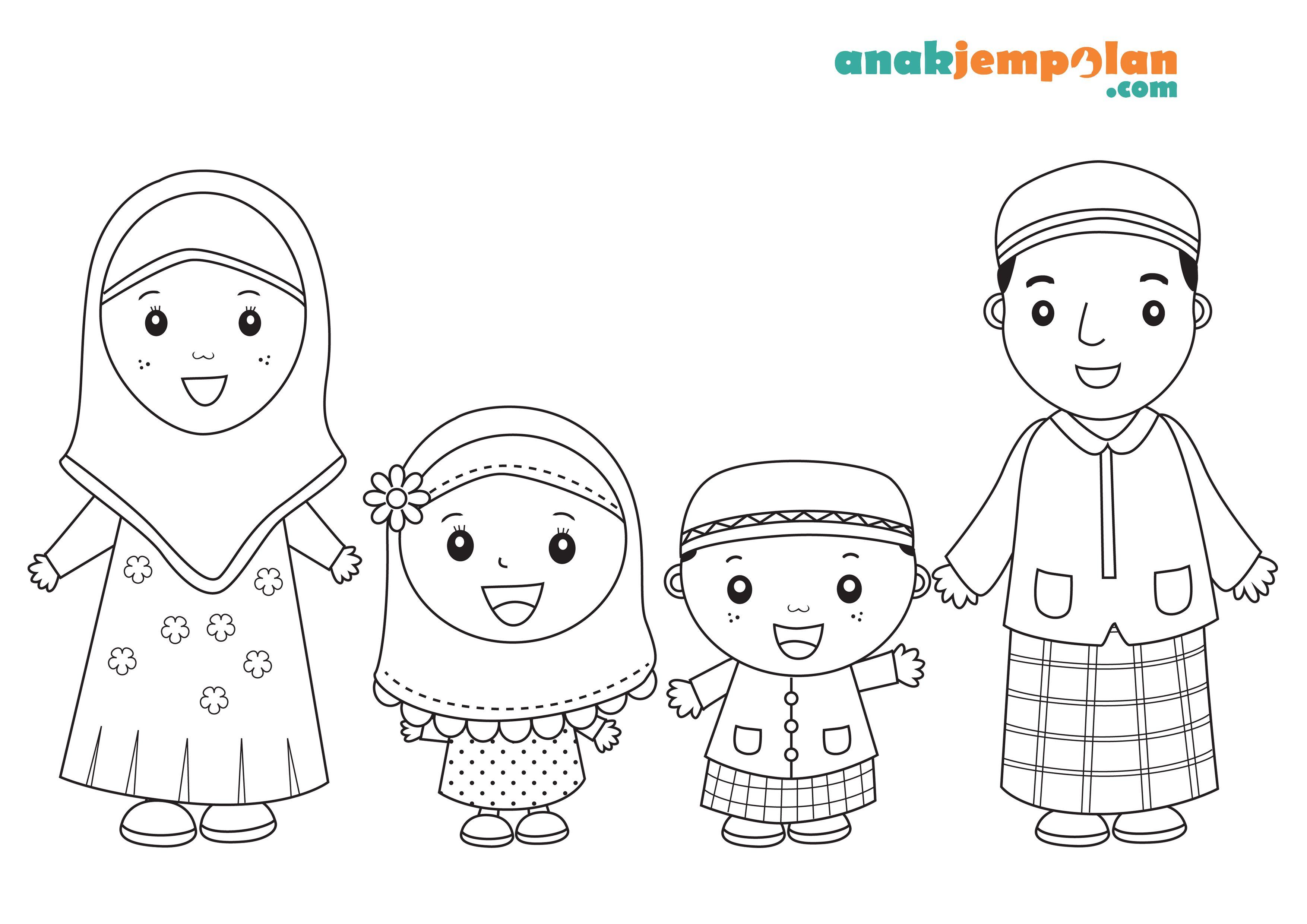 Muslim Family Coloring Page1 3508—2480 Dengan Gambar